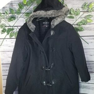 Guess outerwear thick fur hooded jacket sz XL